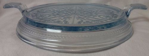 "Sapphire Blue Table Server 8.25"" Fire King Anchor Hocking Glass"