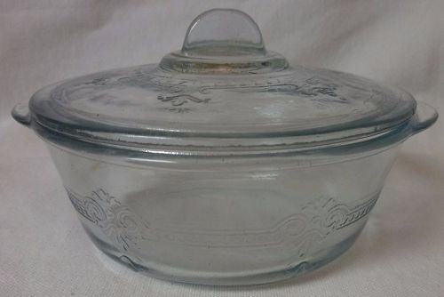 "Sapphire Blue Individual Casserole 4.75"" & Lid Fire King"