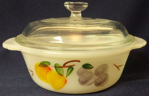 "Fruits Casserole with Lid 1 Pint 5 5/8"" Fire King Anchor Hocking Glass"