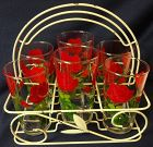 "Red Roses Tumblers 4.75"" in Holder 8.25"" Tall 5.75"" Across"
