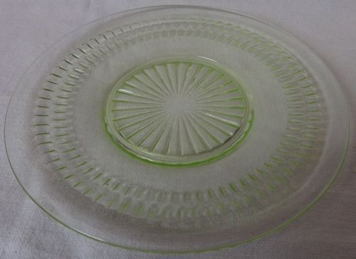 "Roulette Green Sherbet Plate 6"" Hocking Glass Company"