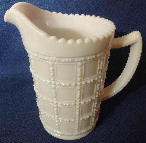 "Beaded Block Milkglass Jug 1 Pint 5.25"" Imperial Glass Company"