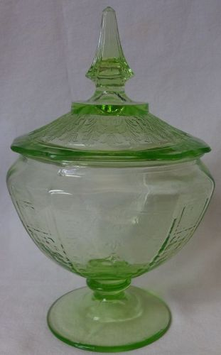 "Princess Green Candy & Lid 8.5"" Hocking Glass Company"