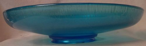 "Blue Stretch Low Bowl 10.75"" Across 2.25"" Tall Northwood Glass Company"