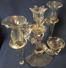 "Candlestick 3 lite with Arms 8"" Spread & Vases Crystal Cambridge"