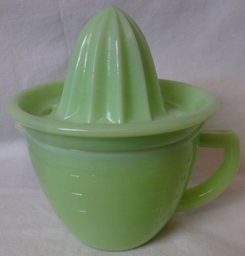 "Reamer and 2 Cup Pitcher 6.5"" Jadeite Jeannette Glass Company"