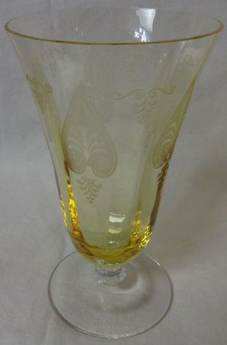 "Trojan Topaz Tumbler 12 oz 6"" $5099 Fostoria Glass Company"