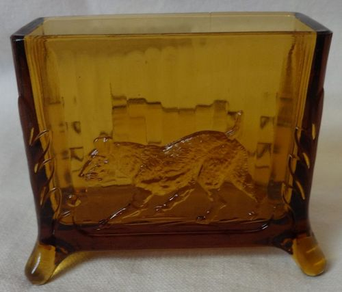 "Dog Cigarette Holder Amber 2 5/8"" Footed"