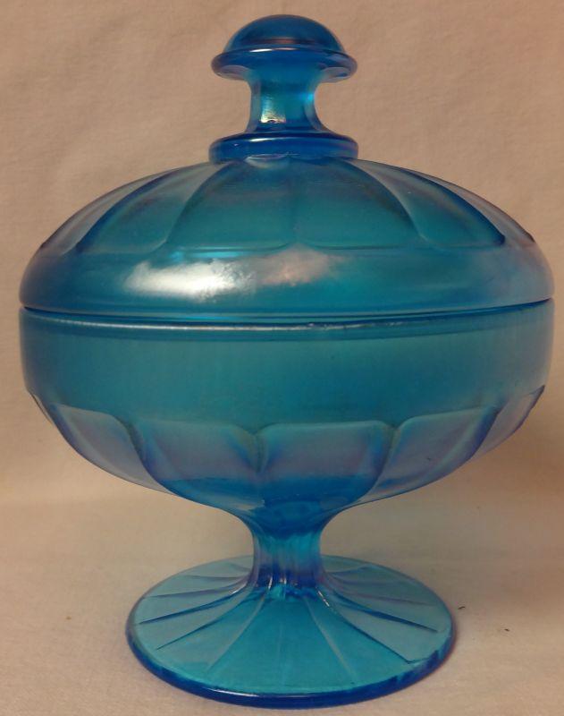 "Blue Stretch Covered Bon Bon 6.25"" Tall Fenton Glass Company"