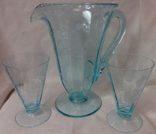 "Azure Blue Barry Pitcher 48 oz 9 3/8"" & 2 Tumblers 5 3/8"" Morgantown"