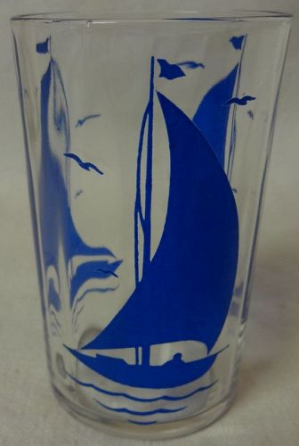 "Sailboat #2 Cobalt 3.5"" Swanky Swig Hazel Atlas Glass Company"