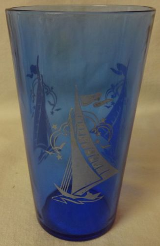 "Fancy Ships Ritz Blue Tumbler 4 7/8"" Hazel Atlas Glass Company"