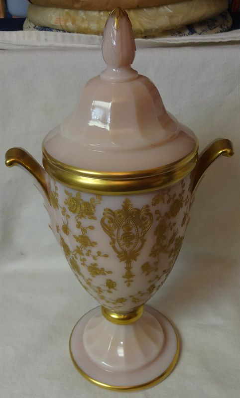 """Rose Point Crown Tuscan Gold Encrusted Urn 12"""" Cambridge Glass"""