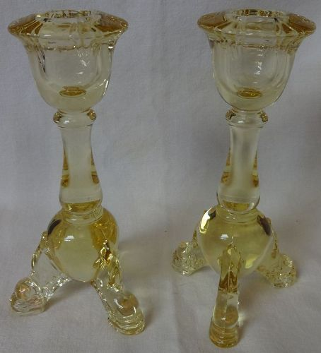 """Empress Sahara Dolphin Footed 6"""" Candlestick Pair Heisey Glass Company"""