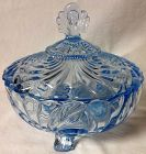 "Caprice Moonlight Blue Candy & Lid 6"" 3 Footed #165 Cambridge Glass"