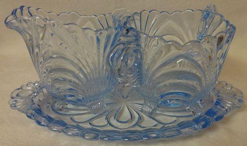 Caprice Moonlight Blue Medium Creamer & Sugar on Tray Cambridge
