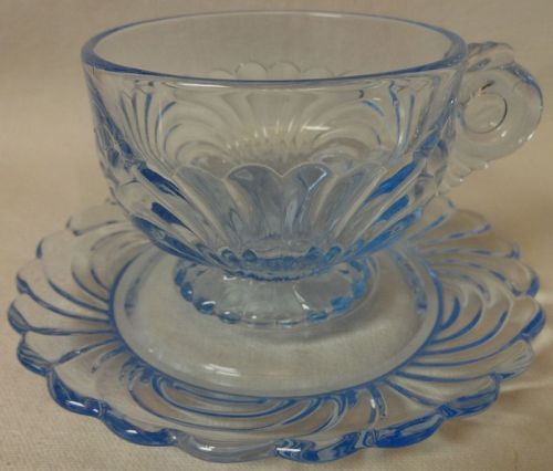 Caprice Moonlight Blue Cup & Saucer #17 Cambridge Glass Company