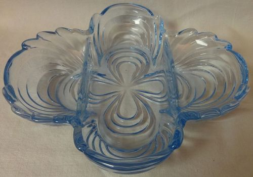 "Caprice Moonlight Blue Celery/Relish 3 Part 8.5"" #124 Cambridge Glass"