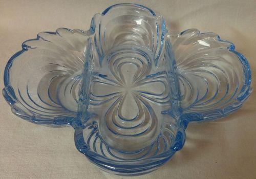 "Caprice Moonlight Blue Celery/Relish 3 Part 8.5"" #124 Cambridge Glass"