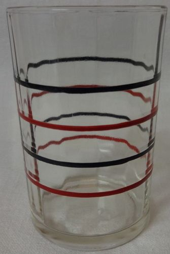 "Band Swanky Swig Red & Black 3 3/8"" Hazel Atlas Glass Company"