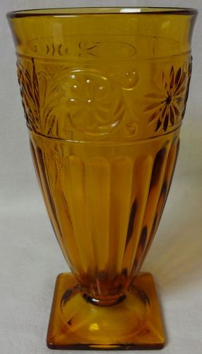 Daisy Amber Ice Tea Tumbler 12 oz Footed Indiana Glass Company