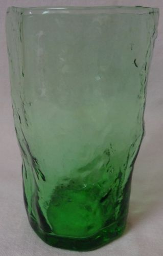 "Crinkle Green Juice Tumbler Flat 4"" 6 oz Morgantown Glass Company"