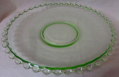 """Candlewick Green Plate 10.25"""" Dazell Viking Glass Companyu"""