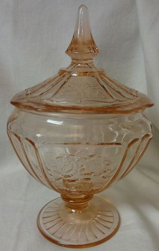 Mayfair Pink Candy Jar & Lid Hocking Glass Company