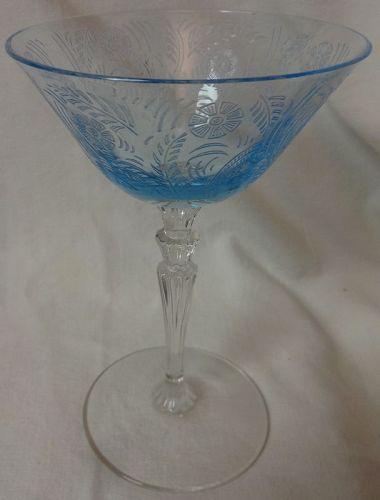 "Kashmir Blue Saucer Champagne 6 1/8"" Fostoria Glass Company"