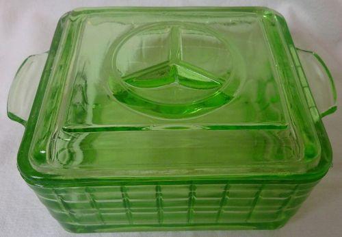 "Refrigerator Dish & Lid 2 Handled Green 4.25"" x 4.75"""