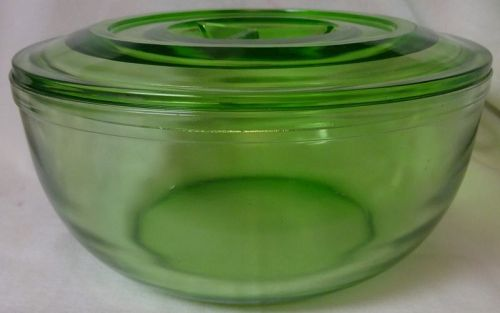 "Covered Bowl Green 9"" 4.75"" Tall Jeannette Glass"