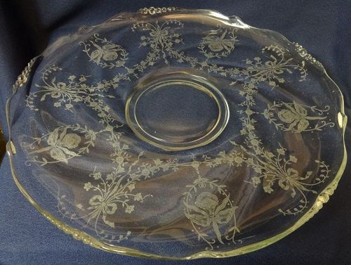 "Orchid Crystal Rolled Edge Torte Plate 14"" Heisey Glass Company"
