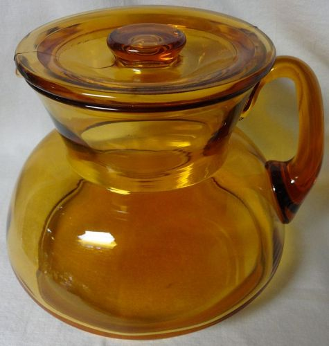 "Jug & Lid 6"" Amber 62 oz Cambridge Glass Company"