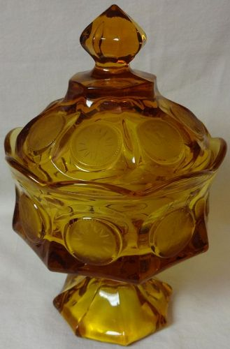 "Coin Amber Wedding Bowl & Cover 8 3/16"" Fostoria Glass Company"