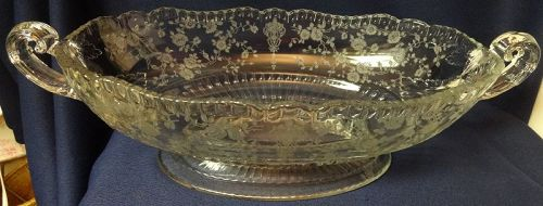 "Rose Point Crystal Oval Bowl Handled Footed 12"" 3500/21 Cambridge"
