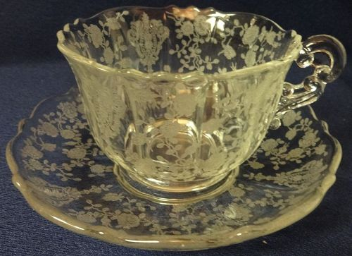 Rose Point Crystal Cup & Saucer 3900/17 Cambridge Glass Company