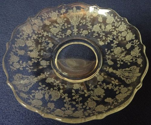 Rose Point Crystal Saucer 3900/17 Cambridge Glass Company