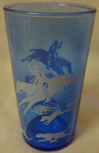 "Tally Ho Ritz Blue Juice Tumbler 3.75"" Hazel Atlas Glass Company"