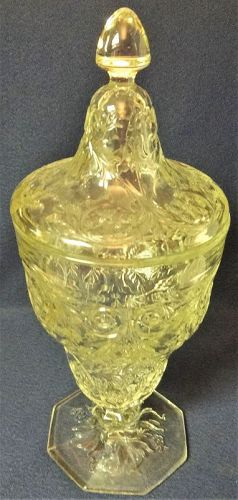 "Rock Crystal Candy & Lid Footed 9.25"" McKee Glass Company"
