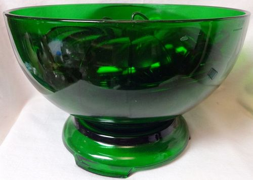 "Forest Green Punch Bowl, Stand, & 12 Cups 10"" 6.5"" Tall Anchor Hocking"