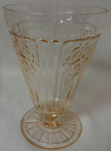 "Mayfair Pink Water Tumbler Footed 5.25"" 10 oz Hocking Glass Company"