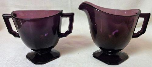 "Individual Creamer & Sugar Purple 3"""