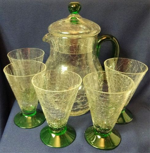 "Crackle Crystal & Green Covered Jug 10.25 & 8 Tumblers 5.25"" Morgantow"