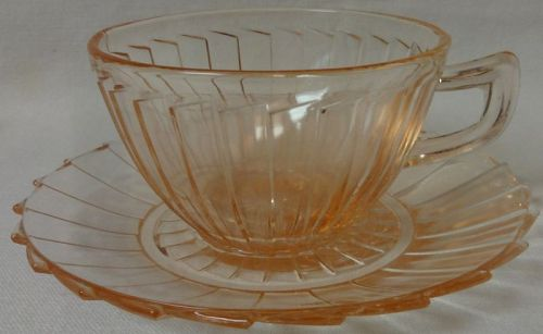 Sierra Pink Cup & Saucer Jeannette Glass Company
