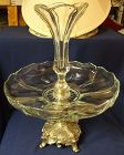 "Epergne Crystal on Silver Stand 15"" tall Duncan Miller Glass Company"