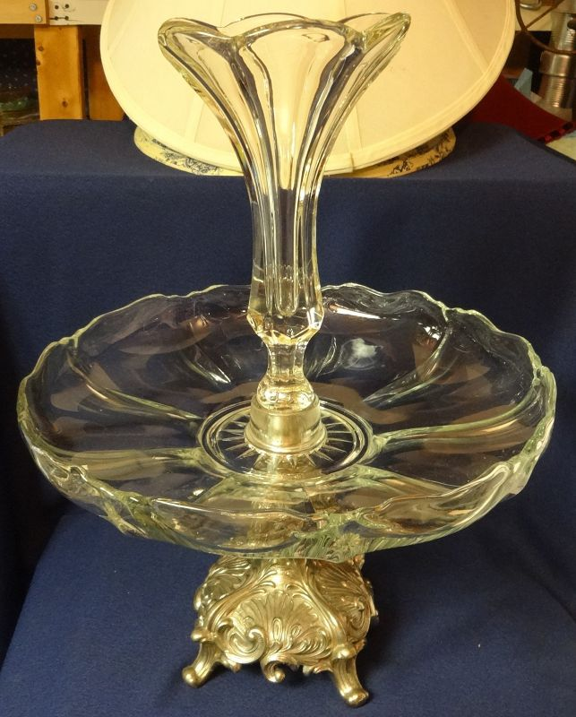 """Epergne Crystal on Silver Stand 15"""" tall Duncan Miller Glass Company"""