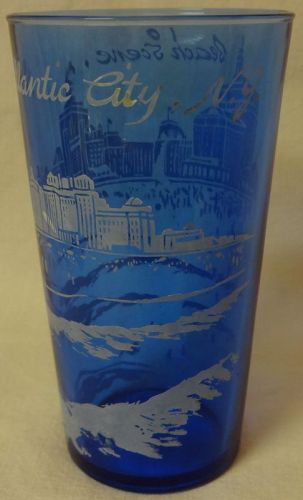 "Atlantic City Ritz Blue Tumbler 5"" Hazel Atlas Glass Company"