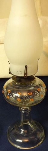 "Oil Lamp Crystal Enameled Orange 11"" & Chimney"