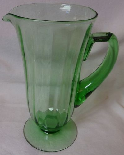 "Green Jug 10"" Fostoria Glass Company"