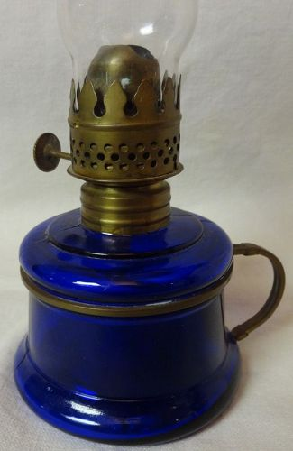 Nutmeg Cobalt Miniature Oil Lamp & Chimney 6.5""